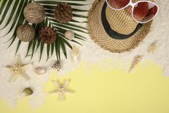 Summer concept and accessoriesshells, starfish, coconut leafwith sandy beach on yellow background Stock Images