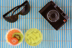 Summer concept background with jelly panna cotta fruits sunglasses and vintage camera on bamboo Stock Image