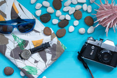 Summer concept with beach items. Stock Photos