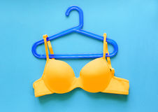 Summer concept, bra on coat hanger on blue. (Pop art style) Royalty Free Stock Photography