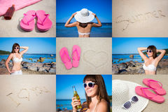 Summer concept - collage with happy woman in bikini on the beach Royalty Free Stock Image