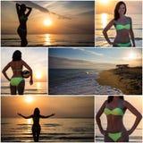 Summer concept - collage of slim beautiful woman in bikini Royalty Free Stock Photos