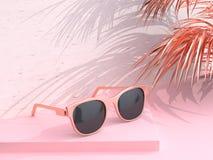 Summer concept 3d rendering Pink scene abstract sunglasses coconut leaf stock illustration