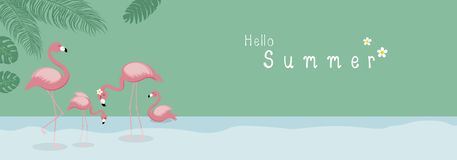 Summer concept design of flamingo with tropical leaves in the forest stock images