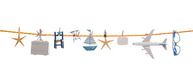 Summer concept with different utensils for traveling hanging on Stock Image