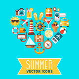 Summer concept with flat beach vector icons in heart form. Icon for summer travel, illustration of summer leisure with cocktail and ice cream stock illustration