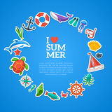 Summer concept. Flat icons arrange in the form of Royalty Free Stock Photography