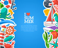 Summer concept with flat icons. Vector Stock Images