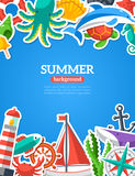Summer concept with flat icons Royalty Free Stock Photos