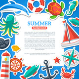 Summer Concept Flyer Template with Flat Marine Stock Images