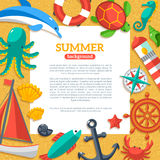 Summer Concept Flyer Template with Flat Marine Royalty Free Stock Images