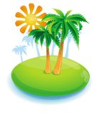 Summer concept -green island and palms Stock Image