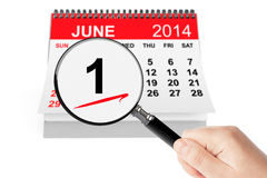 Summer Concept. 1 june 2014 calendar with magnifier on a white background Royalty Free Stock Photo