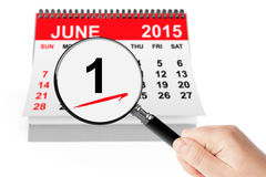 Summer Concept. 1 june 2015 calendar with magnifier. On a white background Royalty Free Stock Photos