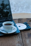 Summer concept with laptop and coffee cup Stock Photography