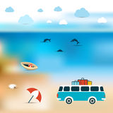 Summer concept. Ocean bluer beach background. Stock Images