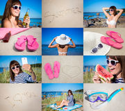 Summer concept - pictures of happy woman on the beach Stock Photos