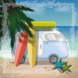 Summer concept with retro bus on the beach,vector. Background Royalty Free Stock Images
