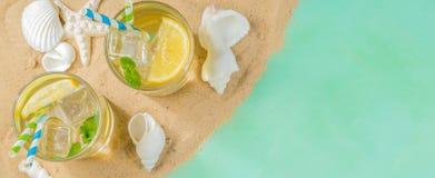 Free Summer Concept - Sand, Drinks, Glasses, Shells Stock Image - 109402051