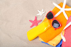 Summer concept of sandy beach Stock Images