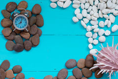 Summer concept : Seashells and pebble with alarm clock on wood b Royalty Free Stock Photo