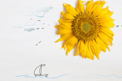 Summer concept , sunflower - sun and the sea with yacht Royalty Free Stock Images
