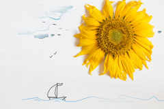 Summer concept , sunflower - sun and the sea with yacht Royalty Free Stock Image