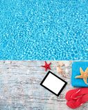 Summer concept with tablet and accessories Stock Image