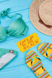 Summer concept, woman beach accessories. Royalty Free Stock Images