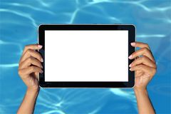 Summer concept. Woman holding tablet computer Stock Photos