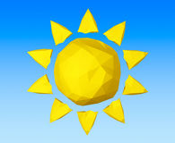 Summer Concept. Yellow Low Polygons Sun. 3d Rendering. Summer Concept. Yellow Low Polygons Sun on a blue background. 3d Rendering stock illustration