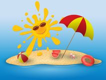 Summer conceptual banner of summer time with beach elements on the beach. Stock Photos