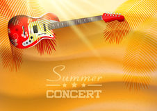 Summer concert background with guitar and sunset Royalty Free Stock Images