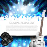Summer Concert Background - Vector. Summer Concert Background with Instruments - Vector with place for your text Stock Image