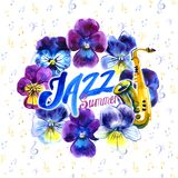 Summer concert Jazz and Blues music festival. Poster background template. Summer concert Jazz and Blues music festival. Poster background template with flowers Royalty Free Stock Image
