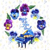 Summer concert Jazz and Blues music festival. Poster background template. Summer concert Jazz and Blues music festival. Poster background template with flowers Royalty Free Stock Photo