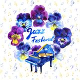 Summer concert Jazz and Blues music festival. Poster background template. Summer concert Jazz and Blues music festival. Poster background template with flowers stock illustration