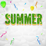 Summer with confetti, serpentine. Summer background with confetti and serpentine. The inscription Summer with green grass and flowers on background made of Stock Images