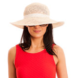Summer connceptual photo of a beautiful woman with hat Royalty Free Stock Photos