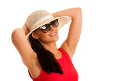 Summer connceptual photo of a beautiful woman with hat Stock Photo