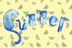 SUMMER consists of cats on butterfly pattern. Unusual lettering: SUMMER consists of six funny blue striped cats on butterfly pattern backgroundnnfor postcards Royalty Free Stock Image