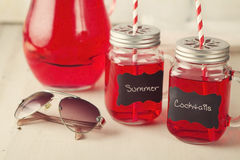 Summer cool cocktail drinks in mason jars Stock Images