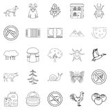 Summer cottage icons set, outline style. Summer cottage icons set. Outline set of 25 summer cottage vector icons for web isolated on white background Stock Photography
