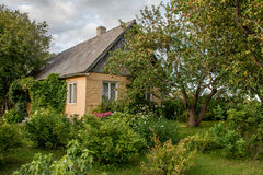 Summer Cottage. Old house with beautiful garden in a late summer day Royalty Free Stock Photos