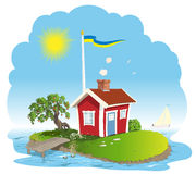 Sweden summer dream. Swedish summer cottage red house with white trim on a island Stock Photography