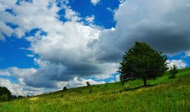 Beautiful view of green hills and trees. Summer country landscape with amazing clouds in blue sky over the land royalty free stock images