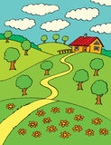 Summer country landscape with a small house Stock Images