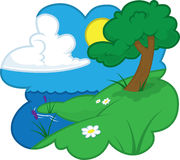 Summer country scene. A scene by a lake, under a tree, on a warm summer's day Royalty Free Stock Images