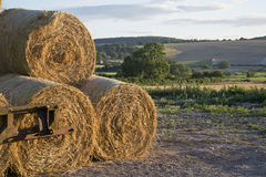 Summer countryside landscape of stack of hay bales against rural Stock Image