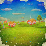 Summer countryside landscape with village Royalty Free Stock Image